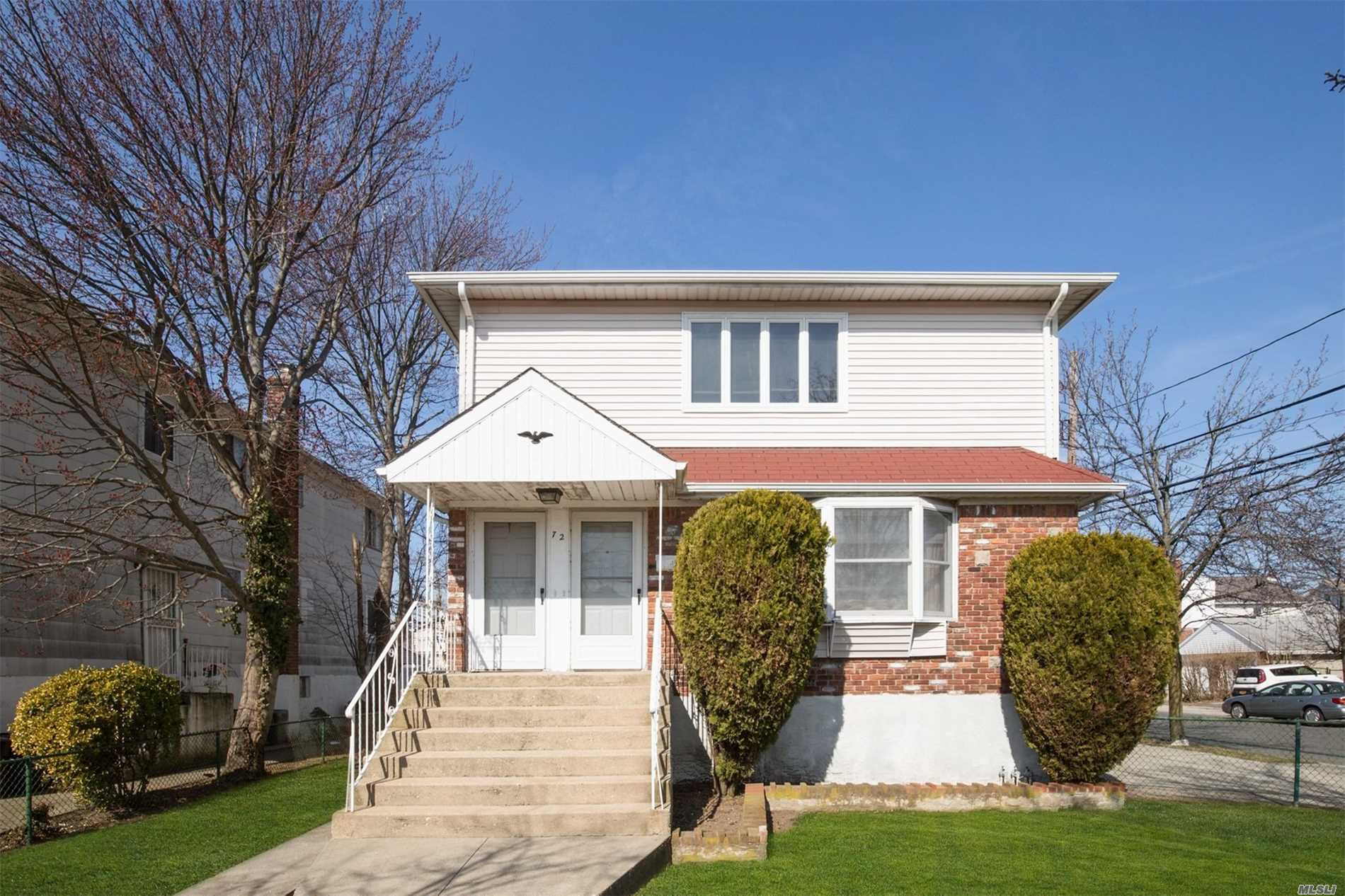 Don't Miss the chance to own this 5 Br/2 Full Bath Spotless and Spacious Legal 2-duplex in beautiful East Rockaway! This beauty boasts: 3 bedrooms on the main level w/EIK & Lr/Dr and 2 bedrooms on the 2nd floor w/EIK, Lr/Dr.hardwood floors thru-out. Full unfin basement with high ceilings and sep ent. /private driveway and fenced in backyard. Gas heating. Close to schools transportation, and beautiful Bay Park! Great home for all or for investment. This one won't last!