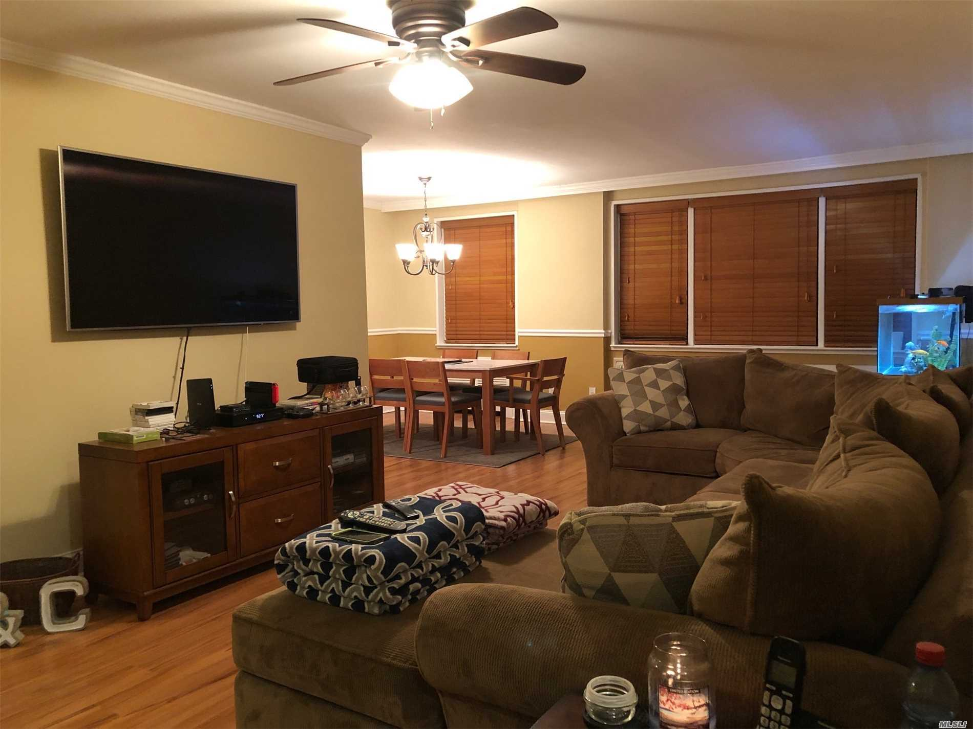 Very spacious 1 bedroom on the 1st floor with updates including kitchen with wood cabinets, ceramic tiled floors & counters, , bath, vinyl wood floors, new carpeting in Bedroom. Freshly painted, wood blinds, new ceiling fans, closets galore, alcove area which is roomy enough for an office set up! OPEN HOUSE CANCELLED. BY APPOINTMENT ONLY!