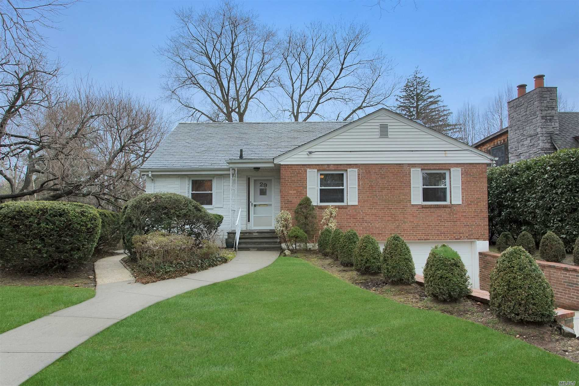 Brick, expanded ranch located in private village of Russel Gardens. 3 bedrooms and 2 baths & office on main level , with extra large bedroom on second level. Additional full finished lower level walk out to yard. Close to LIRR, buses. South schools. House is set high so that full sunset views can be seen from living room and dining room! Taxes have been grieved. Russell gardens private pool fee 1400 annually.