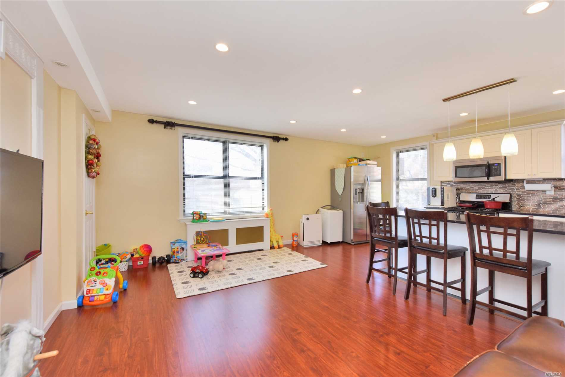 Spacious and modern two bedroom, one bath unit on the second floor. Recently renovated kitchen and bathroom including all new appliances and fixtures. Lots of closets and storage space!