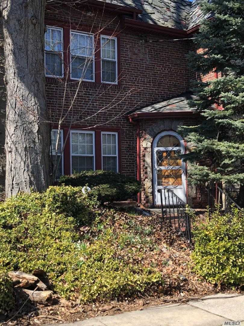 Solid brick English Tudor in very desirable part of Flushing. Living Room, Formal dining Room, Eat in Kitchen. Sun filled patio off the kitchen. 3 bedrooms and full Roman bath on the second floor. Basement is finished with a full bath and OSE. 1 car garage