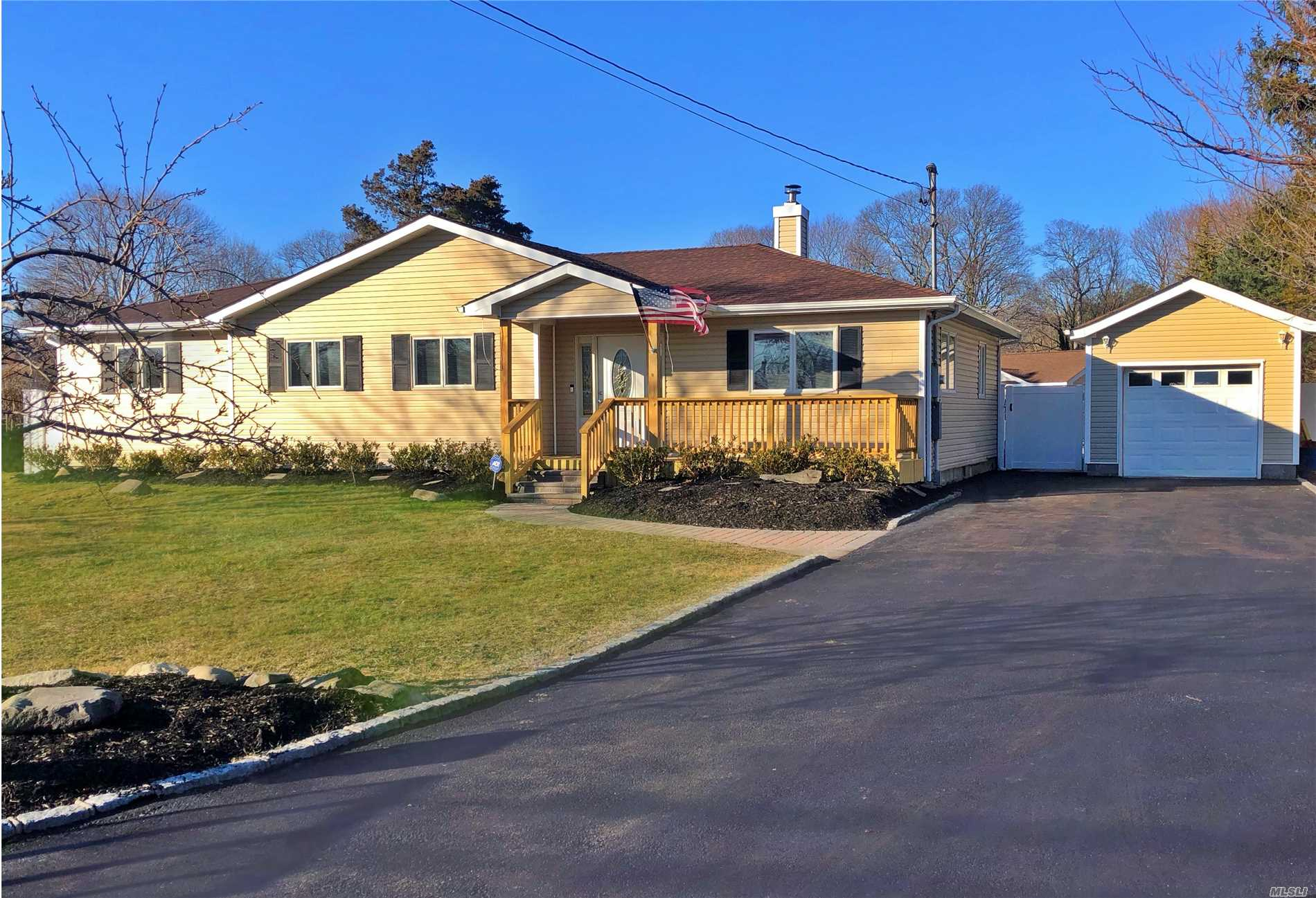 Fully renovated custom 4br-2.5 bth 2800sq ft Sprawling Ranch on a shy acre located south of Montauk Highway in Center Moriches New flr plan new electric new plumbing new heating/Cac Kit SS appli granite island Mstr suite w/Lg closet & custom shower HrdWd Flrs Anderson wood windows 20x40 Igp & large paver patio 1300 sq ft bsmt 450sq ft pool house 12x26 Det gar 6 zones Igs and more Senix marina/boat slips fishing piers restaurants all just minutes away