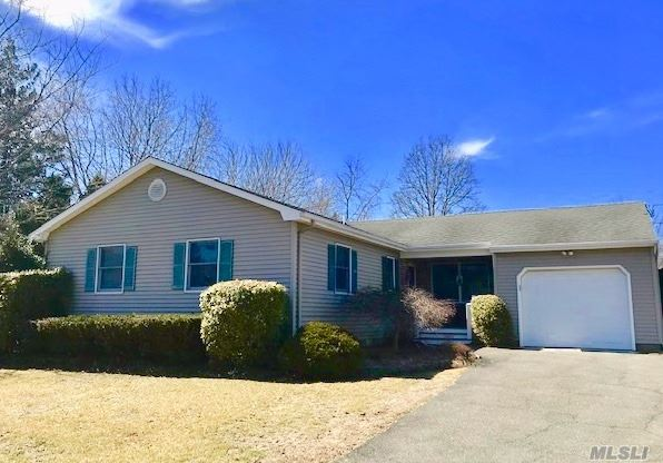 It's All Here! 3 Bedroom/2 Full Baths (incl Master Ensuite), Foyer, Formal LR w/Cathedral Ceilings & Fireplace, Formal DR, EIK, Laundry/Mud Room, CAC & Jacuzzi Tub. All on One Floor! Shy 1/2 Acre, 17x32 Inground Vinyl Pool with new (2 year) Trex decking. Front Porch, Fenced Yard, Storage Shed, Garage & Full Bsmnt. Perfect for Year Round Living or a Seasonal/Vacation Home. Ready, Set, Move Right In and Make Yourself at HOME! Close to Beaches, Wineries, Farmstands and All North Fork Amenities