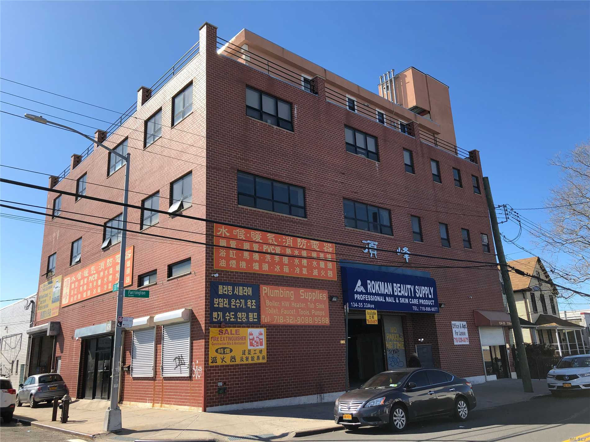 Warehouse with storefront, loading area, storage and office space. Close to downtown Flushing and highways I-678 and Whitestone Expressway. 1st Floor: 1795 sq ft with loading area 18 ft in height. Mezzanine: 3520 sq ft with storage and ready to use office space.
