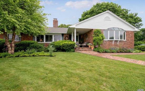 Vacation In Your Own Backyard ! Beautiful Custom Ranch Situated on Forge River Minutes to Moriches Inlet & Ocean Beaches, with Spectacular Water Views, Dock Your Boat or Relax in Your own Salt Water Pool w/ Diving Board, New Hot Tub & Outdoor Shower Home Features All Oversized Rooms with Panoramic Views,  Anderson Windows, 2 Sided Fireplace in L.R. & Den. Formal D.R. Lge. Kit.w/ Updated Appliances, Master Suite , Central Air, Central Vac, Home Warranty Incl. Hamptons Home without Hampton Prices!!