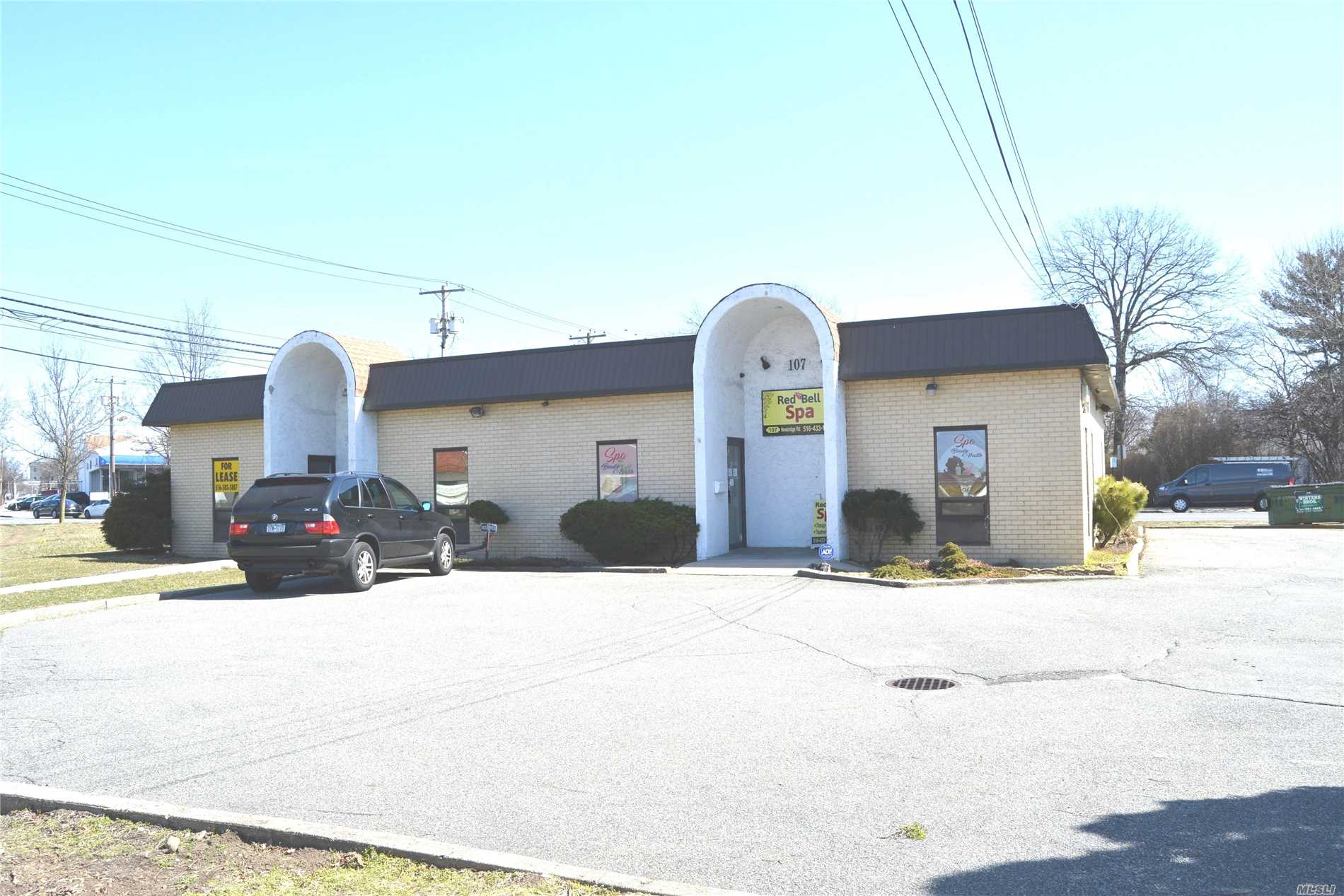 Prime Location Hicksville Prof. / Medical Building, Heavy Traffic Area w/ 3 blocks from Hicksville Station(LIRR), Two Suites Total 2, 818 Sq Ft (1409 Sq Ft Ea). 13 Parking Spaces. Each Separate Entrances, Corner Property Easy To Find. Convenient To All.