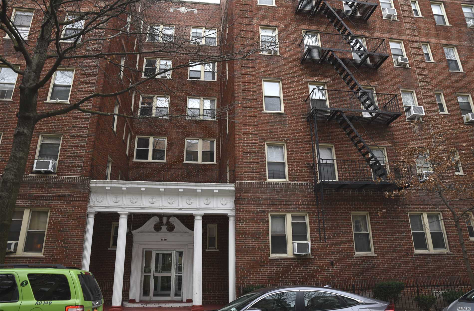 Nice Huge Alcove Studio, Open Layout High-ceiling, Quiet Tree-line Sunnyside Gardens, Living/Dining Room, Foyer, Eat In Kitchen, Spacious, Laundry/Super On Site. Polished Hardwood Flooring, Newly Painted Walls, 4th Floor, 2 elevators, Heat , Water, Sewage Included. 1.5 block, 5min walk to #7 Subway/Bus, 46th/Bliss Streets. Prime Location, Near ALL. Partially furnished - DInette, sofa, wall units, lamps, A/C, curtains, etc