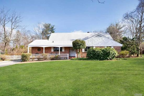 North Syosset-Farm Ranch overlooking 1 flat acre with in-ground pool and 2 car detached garage. Opportunity to renovate/expand in a great location convenient to LIRR, Syosset Village Shops and Restaurants. The home offers 5 bedrooms, 2 baths, finished basement with outside entrance and ample storage. Syosset School District (Berry Hill Elementary - Southwoods Middle School) Low Taxes!