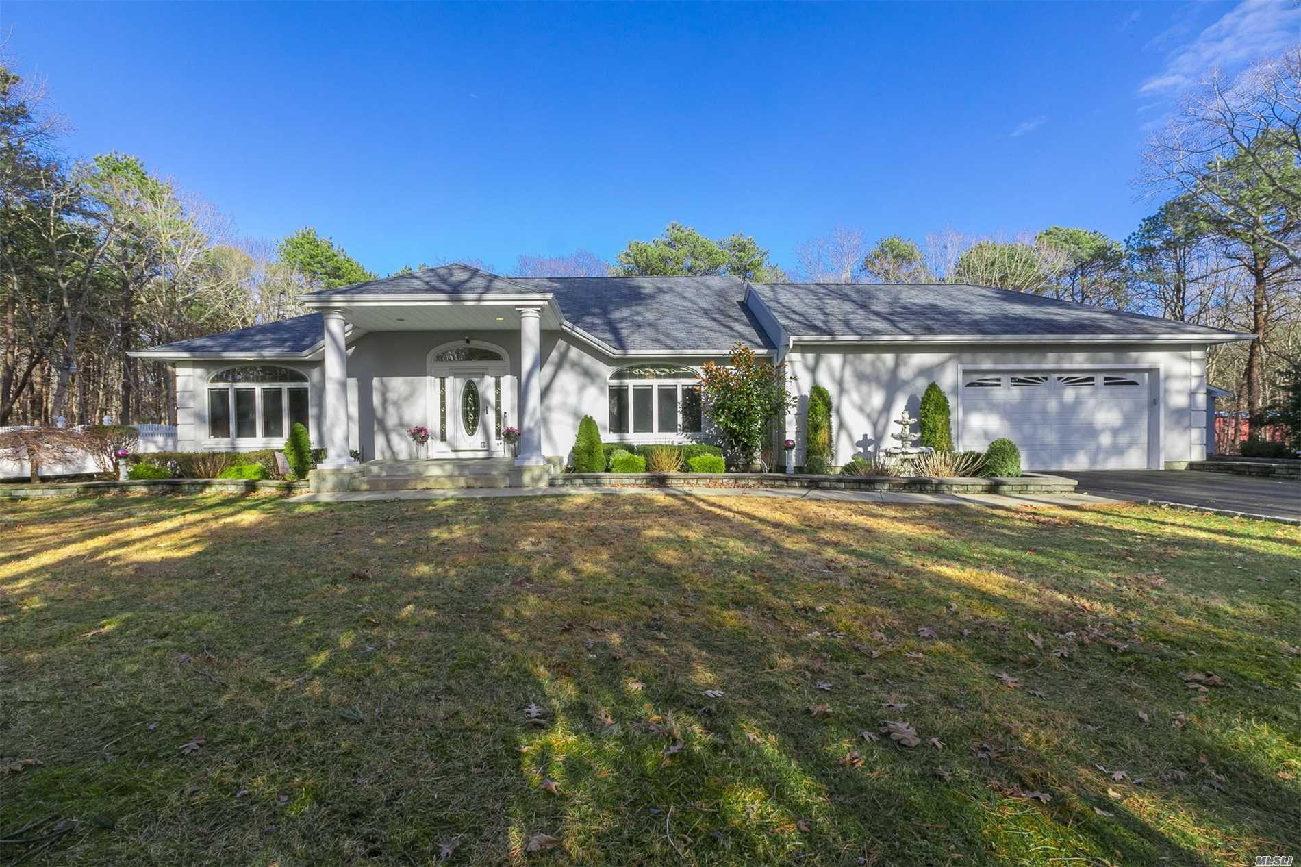Diamond Custom Built Ranch on 2 Acres, A Property Lovers Delight, Plenty of Room For Horses, Oversized 4 Car Garage (Att & Det), Semi In Ground 12x33 Pool, Sunroom W/Heat & AC, Vaulted Ceiling, Custom Floors, Crown Molding, 2 Fireplaces, Fully Finished Basement W/ Outside Entrance, Professionally Landscaped, Trex Deck, In Ground Sprinklers, 24 Hour Generator & Many More Amenities.