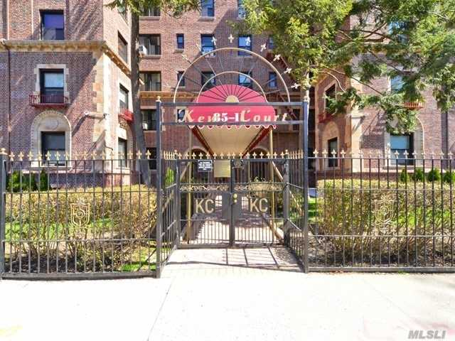 Welcome to this pristine pre-war one bedroom cooperative in Kew Gardens known as Kew Court. This building is very well maintained, underwent several renovations such as brick pointing, new windows and a new entry. This unit is on the 5th floor featuring an entry foyer, spacious living room w/ beautiful base moldings, french doors leading to the eat in kitchen, large bedroom and a bathroom. Full of Character! Pet friendly, p/t doorman, maint. charges are at $605.87 with an assess. of $101.87.
