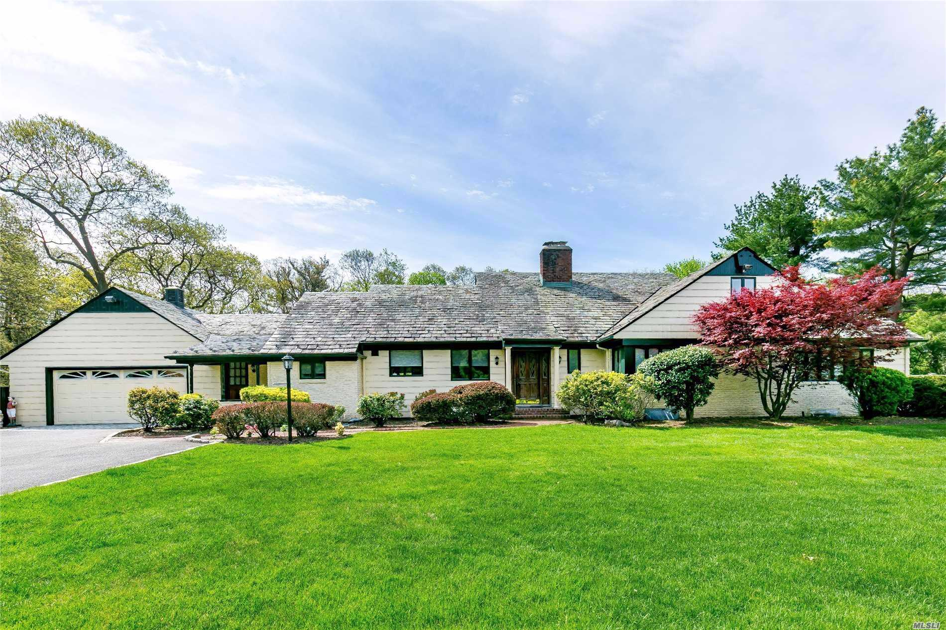 Rare Find! Custom Built Center Hall Farm Ranch On One Are+, Boasts 5Br, 4.5Bth, Eik, Fdr, Huge Lr/Fpl, Den, Sunroom, Huge Finished Basement, Ose, Beautiful Property. Decks, Patio, Gazebo, Pool. Choice Of Roslyn Or Wheatly Sd, Membership In The Fabulous East Hills Park, Surrounded With Multi Million Dollar Homes.