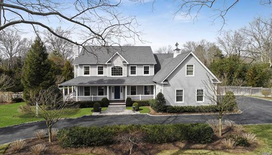 Harborfields Diamond ++ Open floor plan, Custom Built, Finest Custom Woodwork, Gourmet Kitchen w/lots of storage 5 Bedrooms, 3.5 Baths, 3 Car Garage,  20 x 40 IG Heated Salt Water Pool. all HW floors, wood burning fireplace in great room, Sliding doors to stone patio with remote awning-1 FLAT acre! Turn the key and move your stuff right in!!! A Must See!