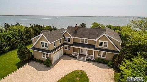 Open Bayfront/Bayviews 1.04 Ac. with 223ft.bulkhead. Beautiful Traditional 6, 580 sq.ft. Features Living Room with Masonry F/P, Oak Floors Throughout, Gourmet Kitchen, Breakfast Nook, Formal Dining Rm, Mastr.suite on 1st Floor, Den. Seecond Floor features 2 More Master Suites with decks overlooking water. Two More Bedrooms & 2 Ba. Inground Gunite Heated Pool with Sundeck Surround & Pool House with Ba. New To Market! Don't Miss This! Take a moment to view our virtual tour of this rare property!