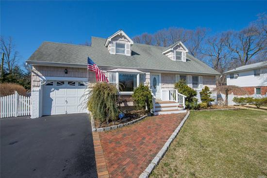 BEAUTIFULLY MAINTAINED EXPANDED CAPE WITH ALL NEW APPLIANCE. LARGE DINING ROOM AND DEN FOR ENTERTAINING. BEAUTIFUL STONE FIREPLACE IN DEN. VERY BRIGHT WITH 3 SKYLIGHTS AND SOLAR PANELS TO REDUCE ELECTRIC. BATHS ARE FULLY UPDATED. BACKYARD HAS DECK AND GREAT PLANTINGS FOR PRIVACY. DEFINITELY A WINNER !!!  BASIC STAR = $1203.00