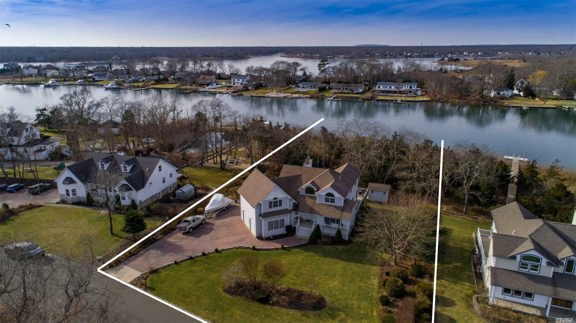 Beautiful Post Modern Home Situated On Builders Acre On Deep Water Old Neck Creek. Home Features Master Suite With Balcony Overlooking Creek, Entry Hall Which Leads To Great Room With Vaulted Ceilings And Fireplace, Eik With Viking Appliances, Formal Dr, Lr, 3 Additional Br's 2.5 Additional Baths, Full Walk-Out Basement With Game Room/Den W/Fireplace, Office, And Bath. Exterior: 2 Car Garage Paver Driveway, Floating Dock W/Electric Upper Lower Decks, And Patio. 70 Miles To Nyc