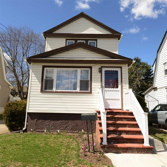 Just move into this charming colonial with gleaming hardwood floors, spacious living room, formal dining room, EIK,  Three bedrooms and one bath upstairs. Full basement with OSE. Detached garage with private driveway. New gutters, new side stoop, and new front stoop and railing.