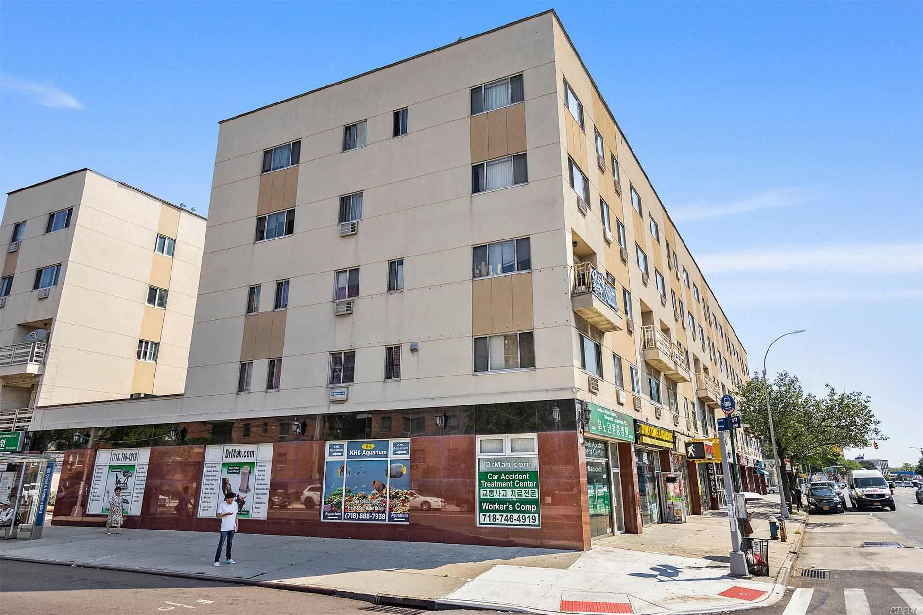 Five-Story Corner Mixed-Use Property On High Traffic Northern Blvd In Flushing. Projected Yearly NOI: $241, 00, Projected CAP Rate: 5.4%. Two Retail Spaces, Plus Four Apartments Above. First Floor And Cellar: Retail Space. Second And Third Floors: Three Beds With Two Baths; Fourth And Fifth Floors: Duplex Units With Two Beds And Two Baths. Public transportations: Q13, Q15, Q15A, Q28 around the corner LIRR Within 5 mins walk. Conveniently access to all Supermarkets, Restaurants, Stores...