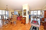 Spectacular 2 Bedroom Corner! Building 1!This wonderful showplace has it all!!! Award winning designer kitchen, wood floors, open entertaining rooms, 2 palatial bedrooms with 2.5 bathrooms including stall shower. 2 balconies and large terrace overlooks panoramic views of NYC, water and bridges. Call to see this very special home.
