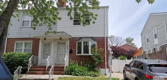 R3 zoning ! Well Maintained Semi-Detached Single Family Colonial Located On A Quiet Street. Beautiful Block in the Heart of Fresh Meadow. A Large Eat-In Kitchen, Sun Room, Private Backyard, Finished Basement And Shared Driveway. Move in condition. Close to the Park and the Bus.