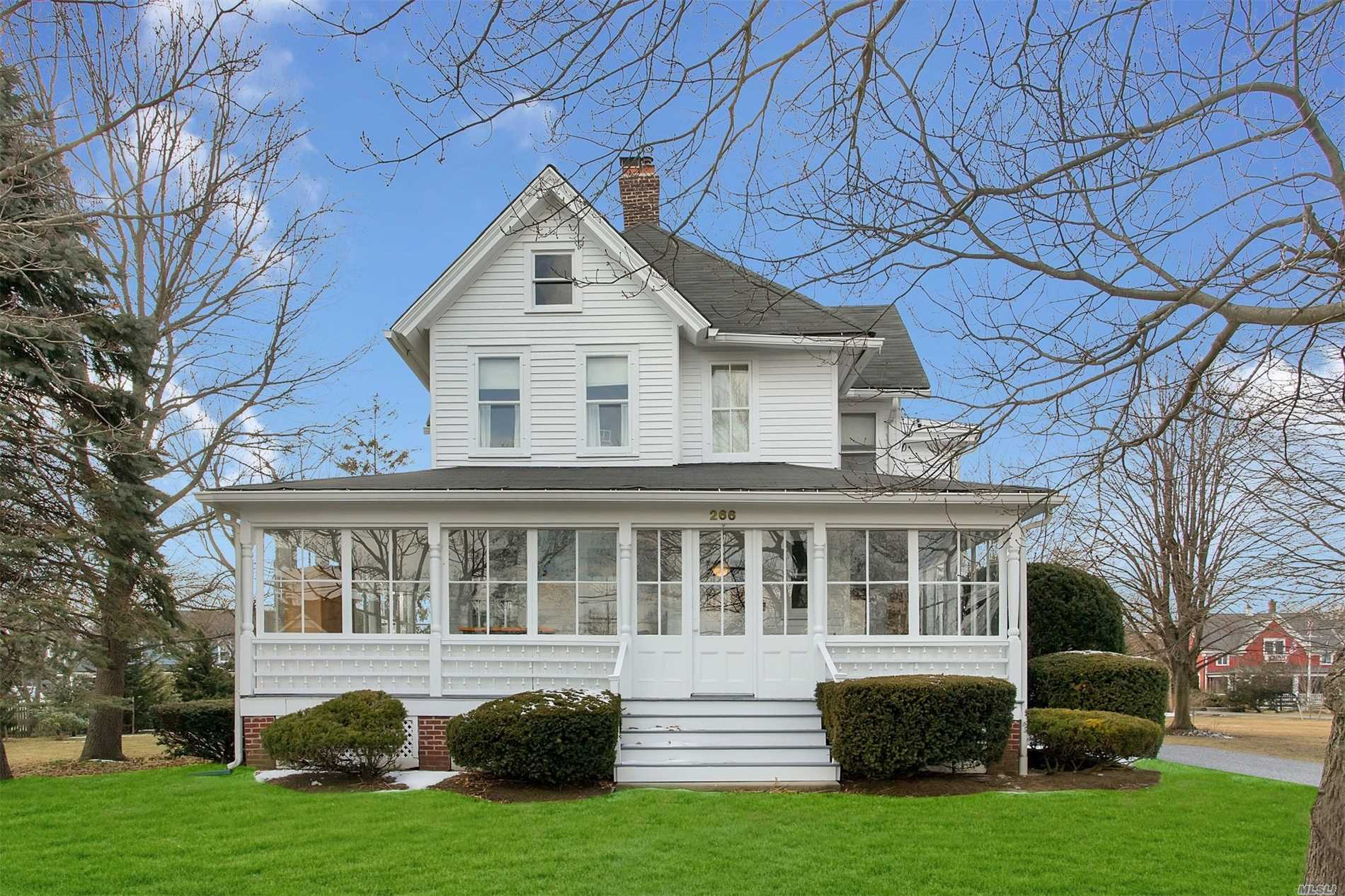 Gorgeous Turn Of The Century Colonial With Formal Entry, Formal Dining Room, Formal Living Room, Eat In Kitchen, Butlers Pantry, Wrap Porch, Heated Enclosed Porch, 6 Bedrooms, 3.5 Baths Beautiful Mouldings And Built Ins, Original Wavy Glass On Porch, Central Air, Gas Heat, Parklike Grounds, Low taxes 14, 647.69 (Reflects Basic Star And Village Taxes) Enjoy all this charming village has to offer!!