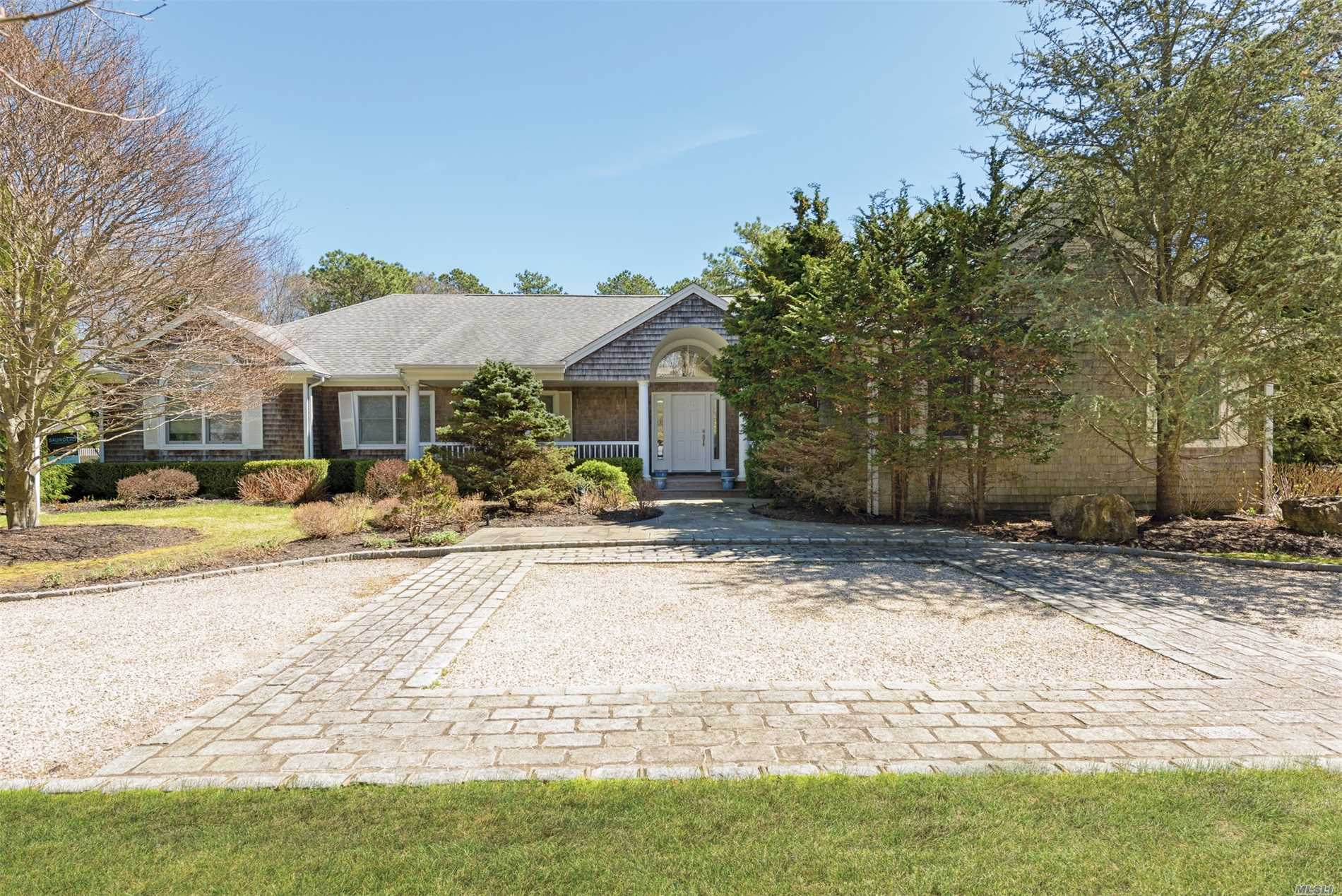 Well maintained, bright airy interior, conveniently located. Chef's kitchen open to the LR/DR. En-suite master with deck/pool access. Three additional bedrooms plus den and finished lower level. Enjoy the sunny yard with large deck, outdoor shower and 20x40 heated pool. Make the most of your summer...escape to Quogue!