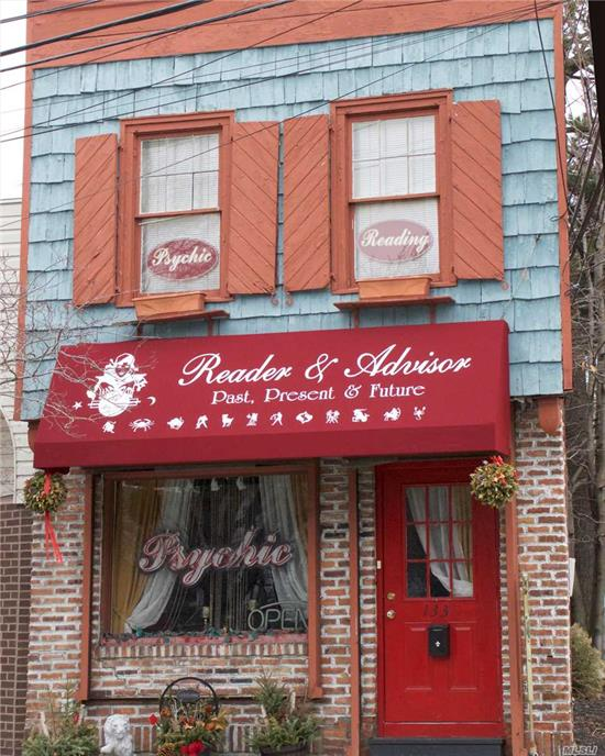 A unique small store with studio apt above plus full basement in the center of town 1 block from LIRR. Building & lot is a triangular in shape, perfect for small business with living quarters.Current Tenant is month to month. Tenants pay heat (oil). electric & water. No separate entrance to apt.