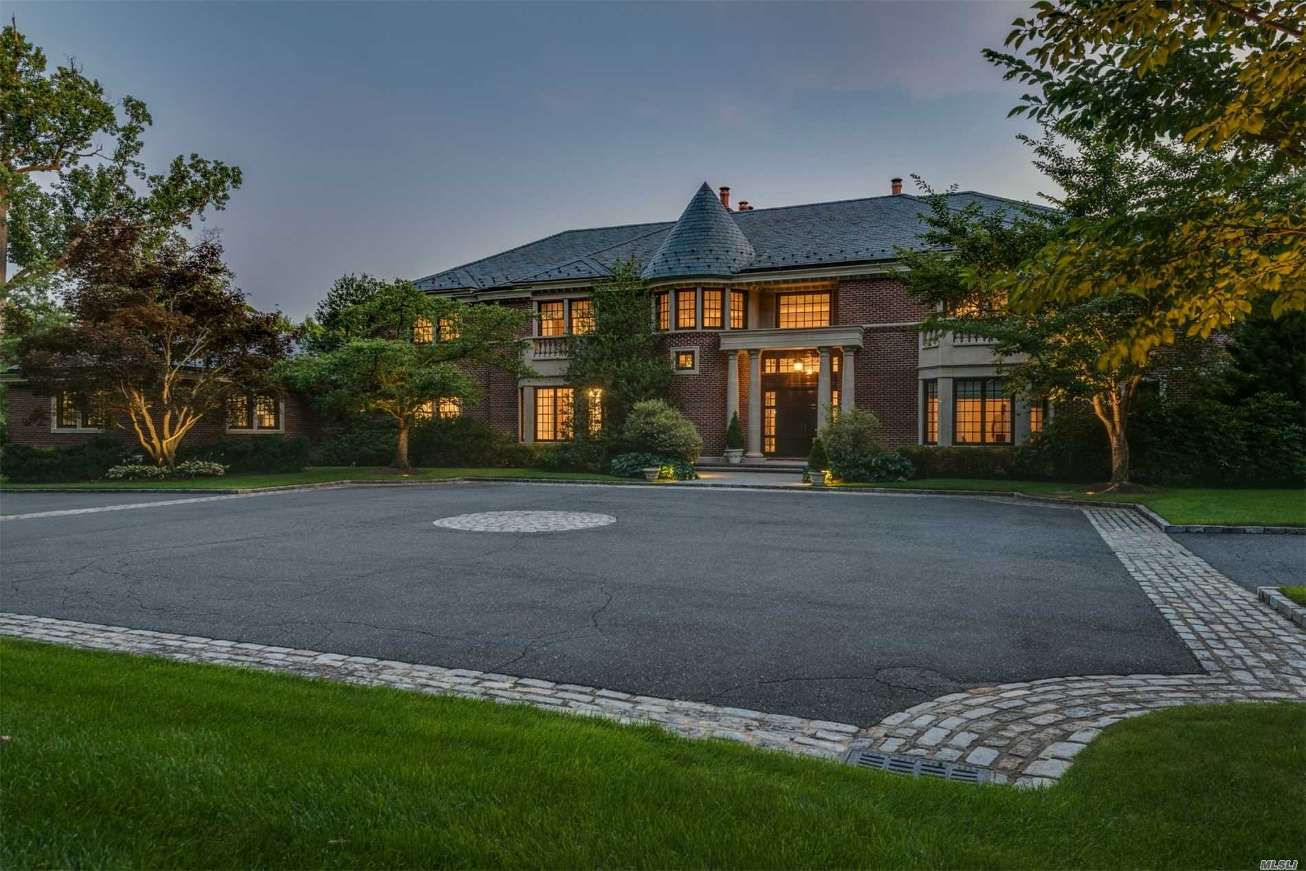 Old Westbury. Breathtaking Custom Built Brick Colonial Sits Privately On 4 Tranquil Acres On Cul-De-Sac. This Stunning 7-Bedrooms, 7.555 Bath Home Is Ideal For Entertaining. It Includes Chef Kitchen, Intricate Work Throughout, Mahogany Library, Master Suite With His/Her Bathrooms & His/Her Dressing Rooms With Walk in Closets, in ground Pool and Tennis Court And Much More!