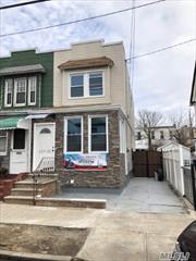 Rare opportunity to own this turn key starter home, totally GUTTED RENOVATION through out, ideally located in Ozone Park, yet very close to Richmond Hill/Woodhaven. 1st Fl feature an enclosed porch, Open Concept Kitchen Brand New, granite counter top, stainless steel appliances,  Living room, Dining room with Half Bath, w/ Hardwood Bamboo Floor, Central Heat Throughout. 2nd Fl feature a Full Bath and 3 Bedrooms, & Skylight. Finished Basement ideal for recreational use & PVT DRIVEWAY.