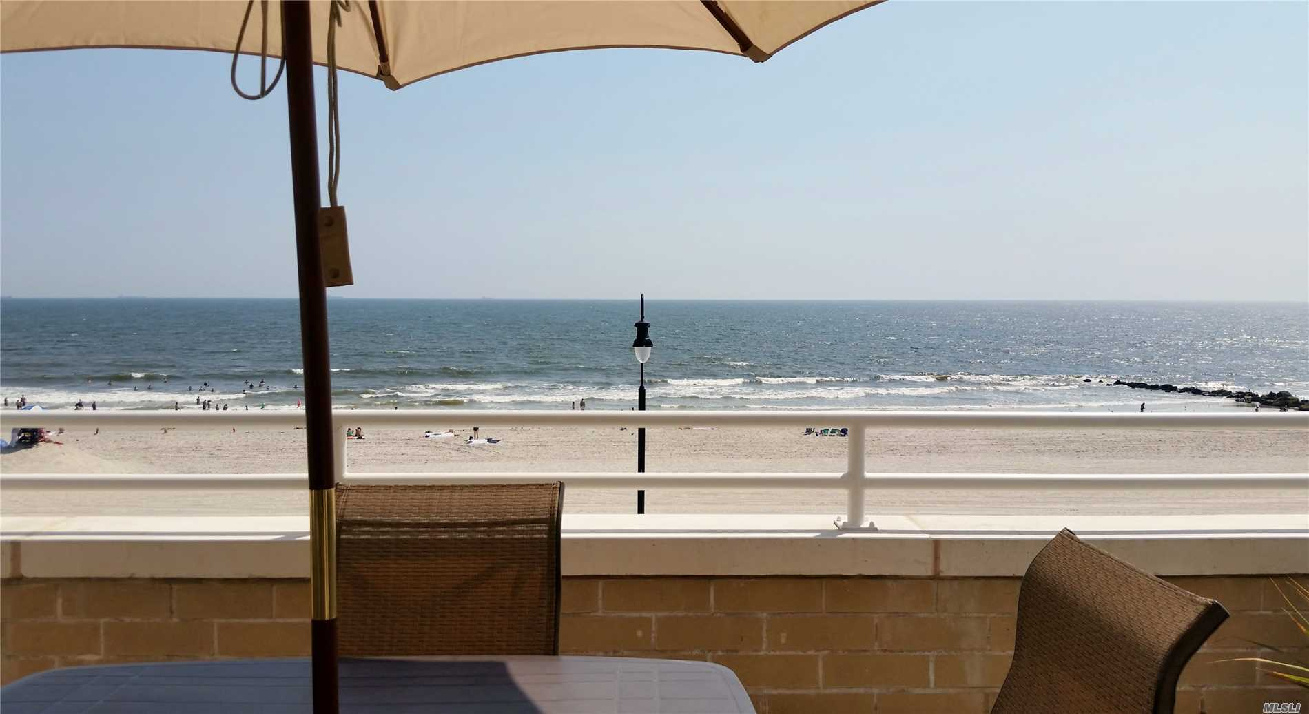 Beautiful 1 Bedroom Oceanfront Condo Unit With Over-Sized Terrace. Large Living Room With Tile Floor, Bedroom With Wood Floors.New Open Kitchen With New Appliances. New bath. Washer And Dryer In The Unit, Pool, Parking.