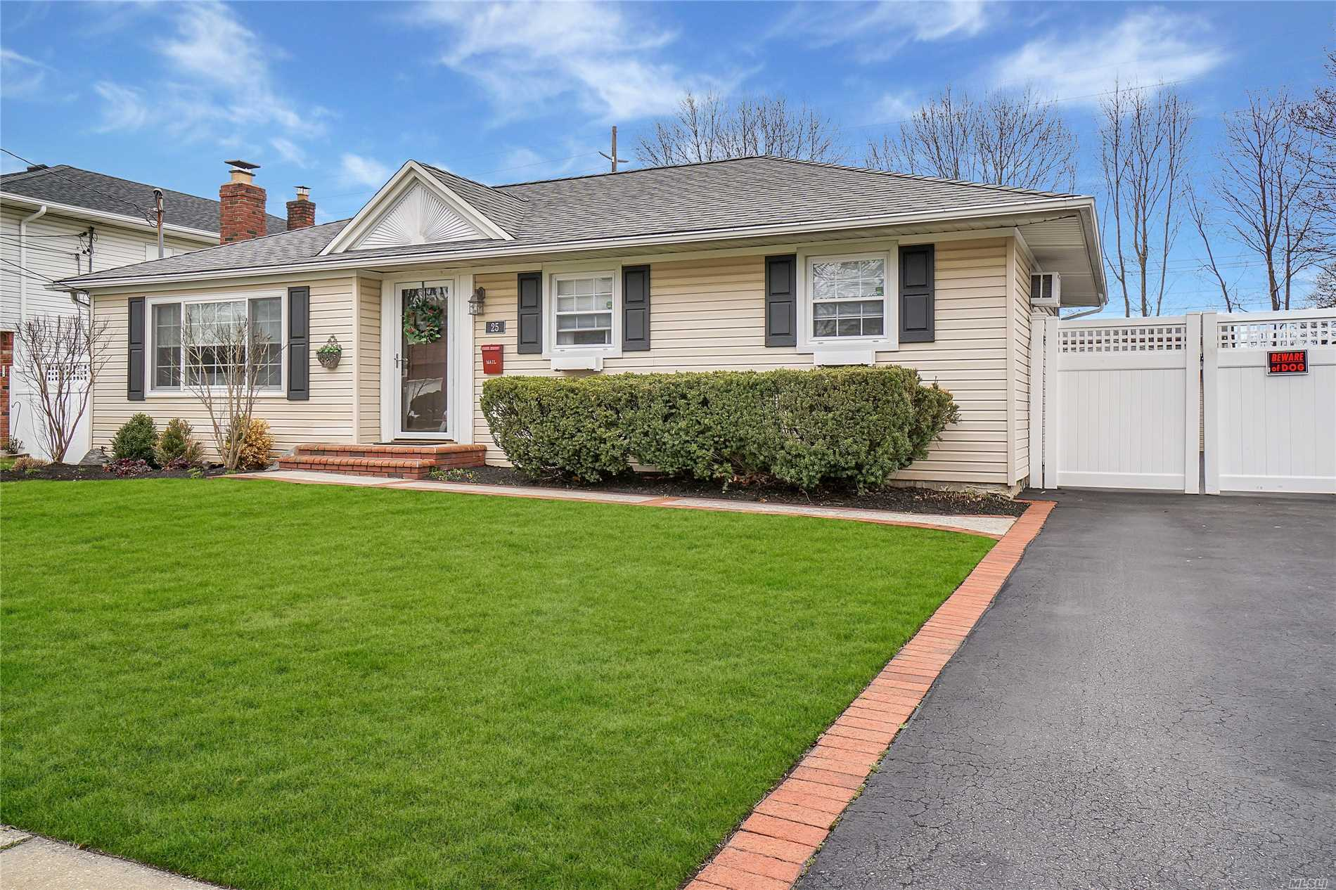 Lovely 3 bedroom, 1 bath ranch, hardwood floors throughout, formal dining room, living room with bay window, updated kitchen with Stainless fridge and stove,  bi-level deck in yard, full 1 car detached garage ;long driveway, big yard, large family room in basement , easy living. Lovely exterior - siding, roof, shutters, nicely landscaped.