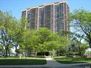 FABULOUS SUNNY SOUTHWEST EXPOSURE! HAVE IT ALL! MAGNIFICENT GOLF, BRIDGE, CITY SKYLINE AND DRAMATIC SUNSET VIEWS! Lg fully equipped EIK with windowed dinette area. Separate FDR / DEN with its own large walk-out terrace with spectacular unobstructed panoramic views! Huge LR can easily accommodate a full dining room set. Spacious second BR has its own bath with stall shower and Balcony. Oversized MBR has incredible outfitted closets and expanded renovated marble bath.