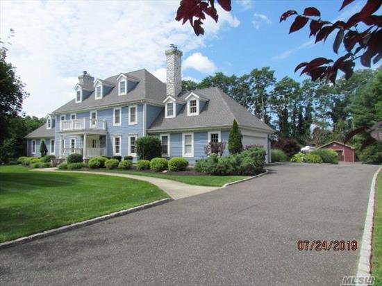 Grand colonial on a private sprawling acre with detached wood workers shop, This home has a great room that is a must see. large eat in kitchen with a breakfast room over looking the back yard .Dining room Large enough for the entire extended family to share those special times.Master suite with closet space galore. updated master bath and hall bath for the fussiest buyer four additional beds on second and third floor with additional full bath. New roof manicured grounds.