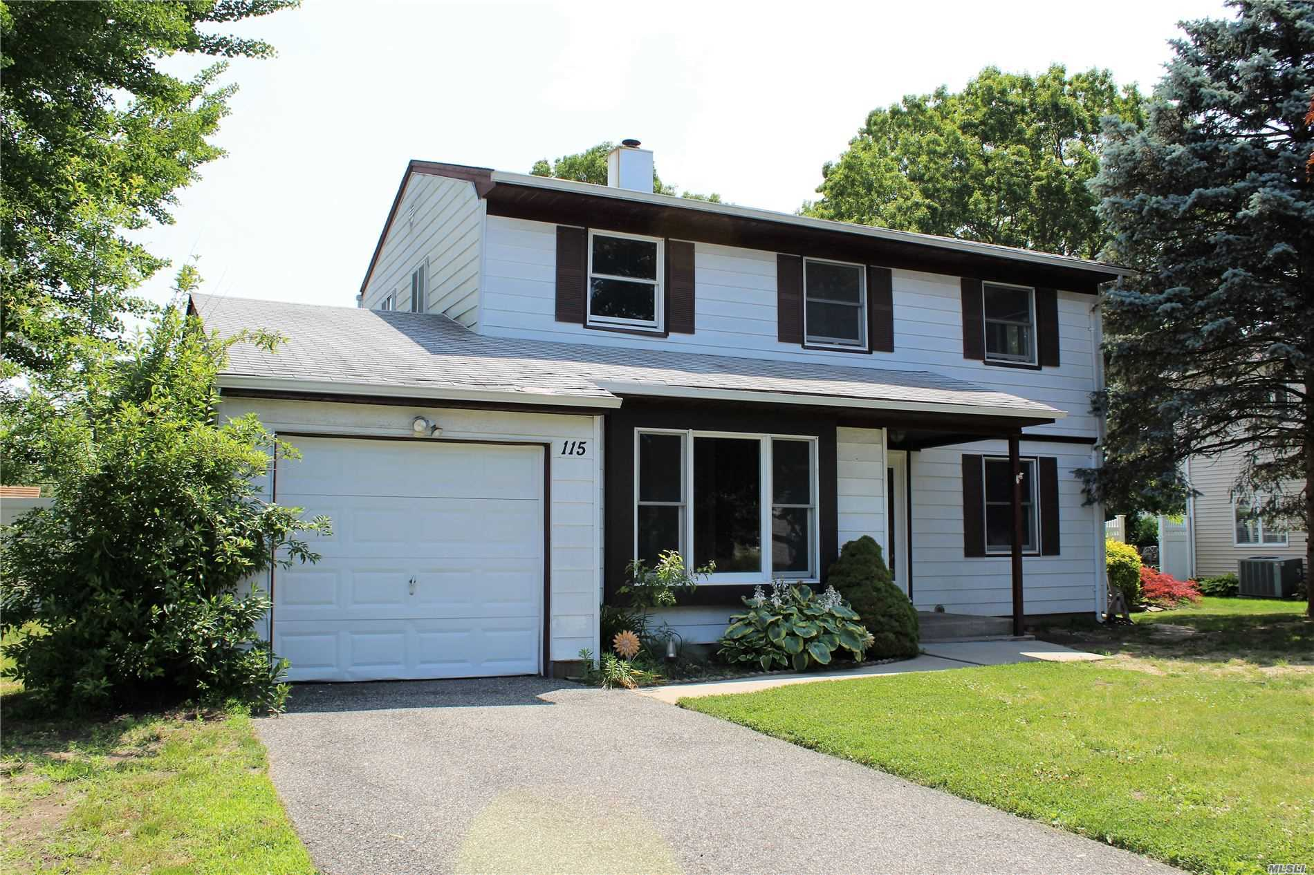 Desirable Birchwood Estates Majestic Colonial. Updated cesspools, 200 amp electric, some updated windows. Hardwood floors through out. Spacious 2 br, Kit, Lr, full bath apt w/4 walk in closets. Legal M/D with proper permits. Sachem Star $953. Tamarac Elementary, Seneca JH and Sachem East HS.
