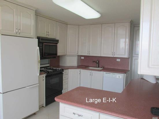 Largest 2 bedroom with formal dining room and direct water views; closets galore including 8x8 bedroom walk-in. Stone updated eat-in kitchen plus updated baths. Vacant and priced to sell. Year round health/fitness center; shopping arcade; restaurant on premises;deli;beauty salon;dry cleaners;tennis courts; heated/domed pool plus so much more a must see.