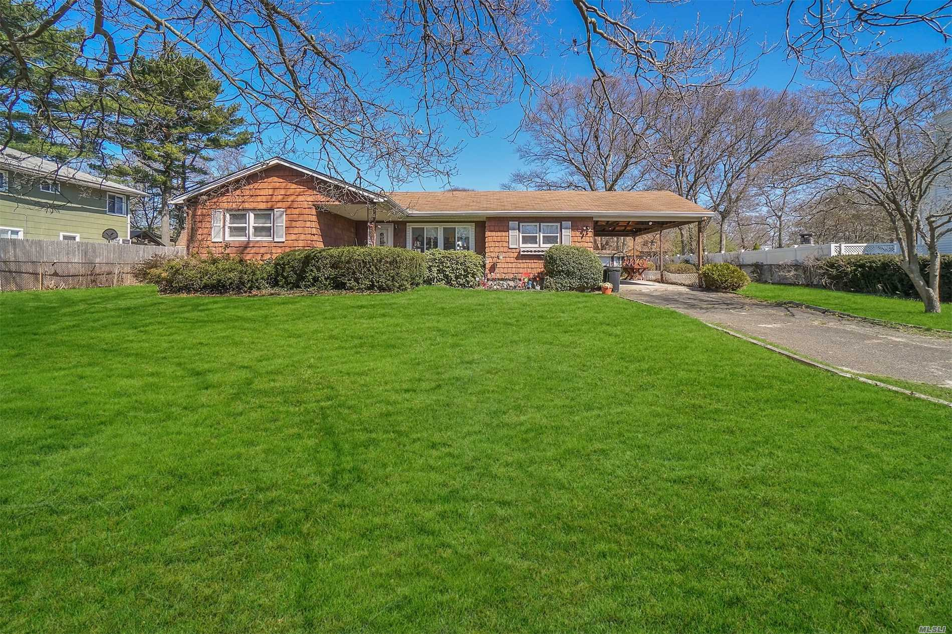 Bank Approved Short Sale! Come See This Lovely 3 Bedroom Ranch In Sachem Schools. Large Yard With Massive Basement. Central Air and New Chimney.