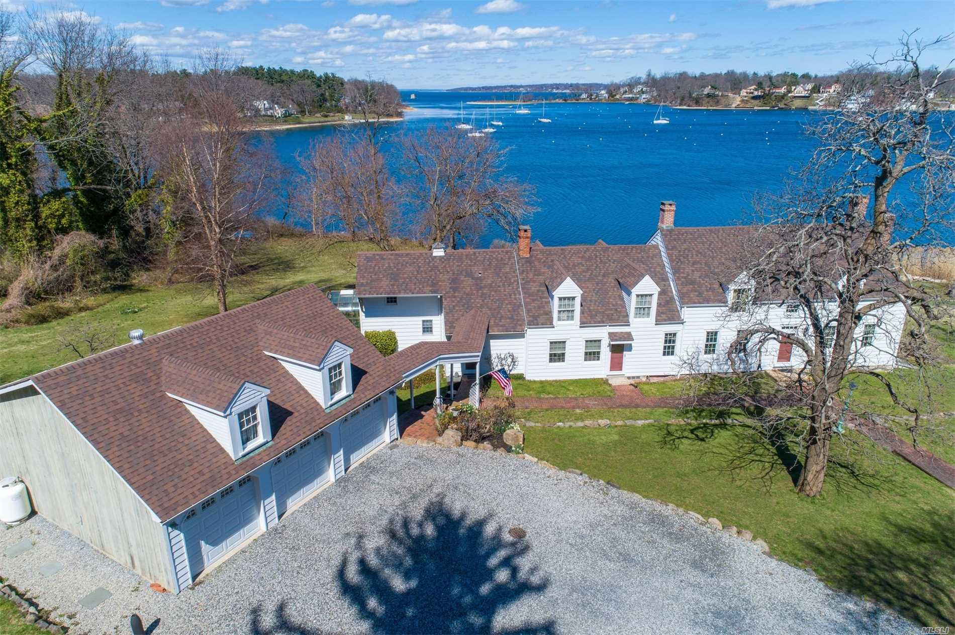 Breathtaking Waterfront Farmhouse The Homestead Built In 1735 Situated On 3.6 Acres Of Pristine Property.Filled With History, Go Back In Time To See The Many Features This Special Home Has To Offer, Wide Plank Floors, Custom Moldings, 4 Fireplaces, Sleeping Porch, & 6 Car Garage. Many Updates Include Roof, Oil Burner, Thermopane Windows, Central Air, & Automatic Generator.