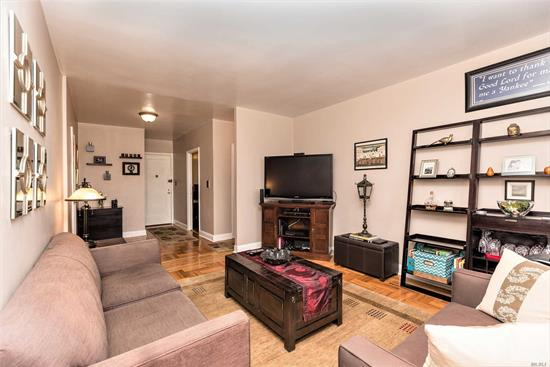 Huge 1 bedroom Co-op with partial city views, storage, eat-in-kitchen, all hardwood floors, laundry on premises, parking with wait list, pet friendly and about 3 blocks to the 7 train. Sublet allowed after 2 year owner occupancy, min 20% down required. Maintenance includes all utilities.