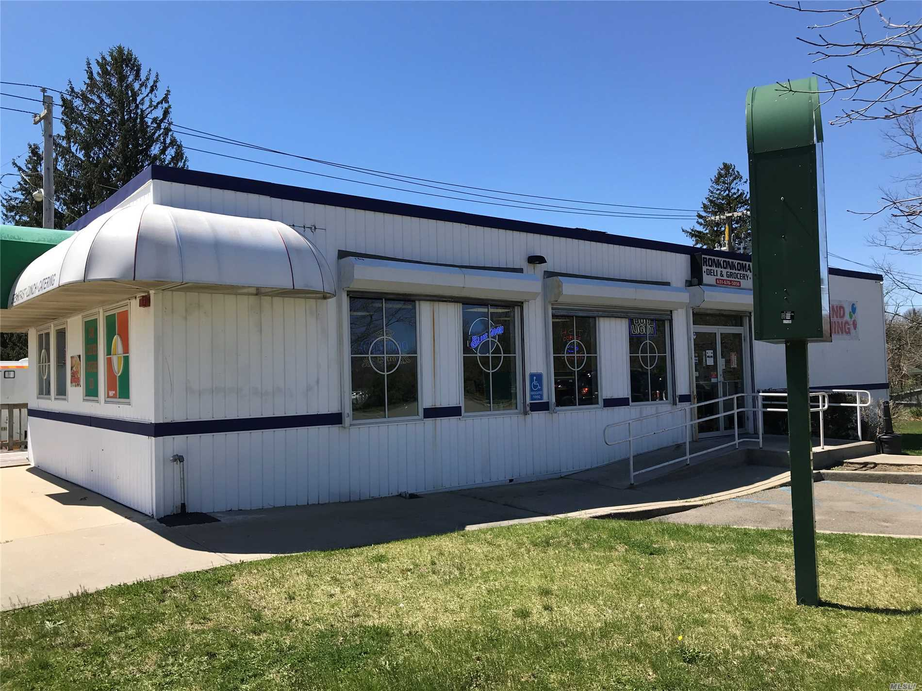 Great opportunity close to Ronkonkoma Hub and LIRR Station. High visibility corner location for this 1440 square foot commercial building with full basement and parking lot. Currently a Delicatessen, the building is for sale and does not include the business or the fixtures.