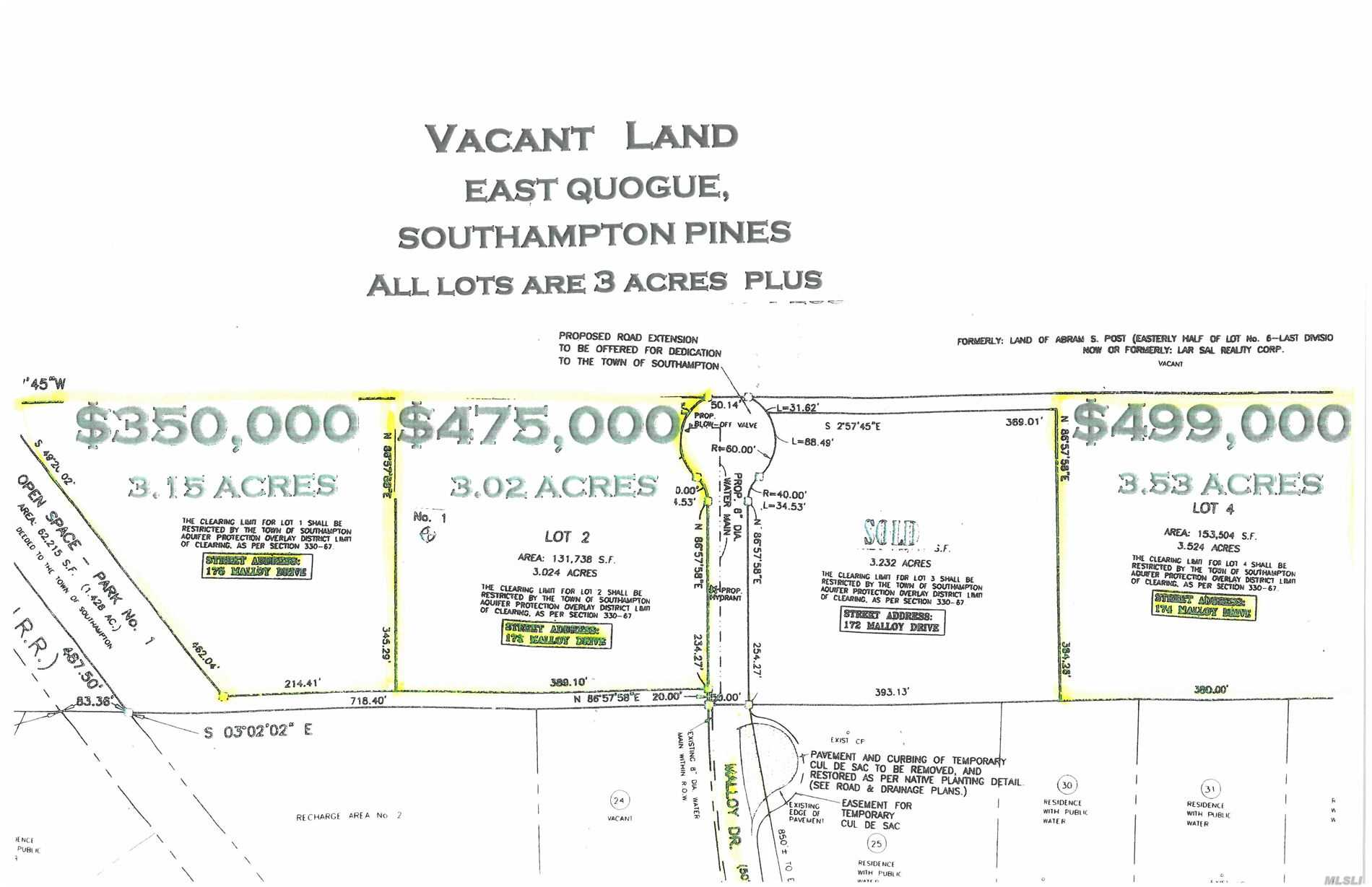 Building opportunity on 3.15 acres in Prestigious Southampton Pines- Located on Cul- de sac. Design your dream home in the Hamlet of East Quogue , Centrally located without all the traffic but all the Quality of life the Hampton's has to offer -  I have Lot Survey for your review - There is water and electric , easy to tap into on cul de sac where property is located .