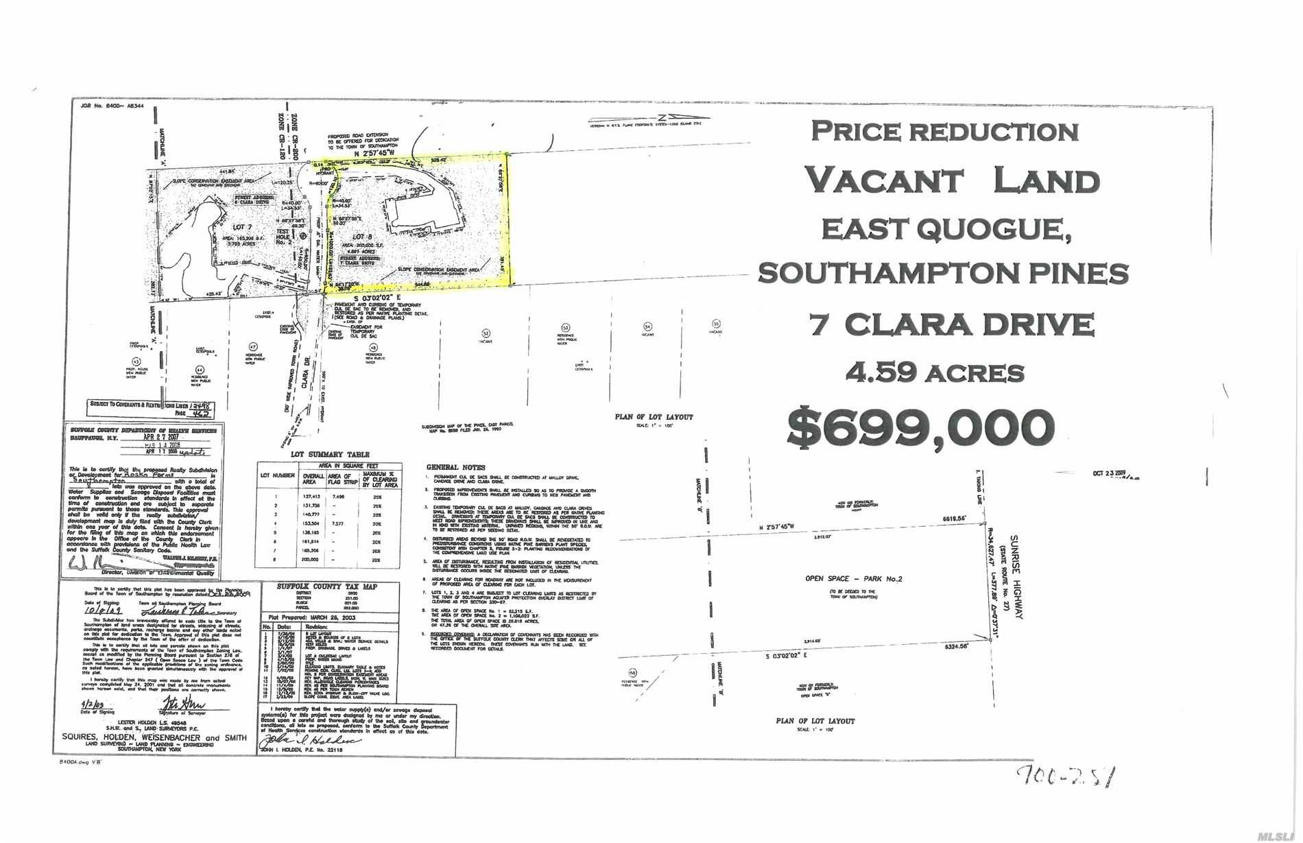 Building opportunity on 4.59 acres in Prestigious Southampton Pines- Located on Cul- de sac with high elevations Design your dream home in the Hamlet of East Quogue , Centrally located without all the traffic but all the Quality of life the Hampton's has to offer -  I have LOT Survey for your review - There is water and electric , easy to tap into - This property is at end of a cul-de sacon your right . Custom Build your home in the Prestigious Southampton Pines -