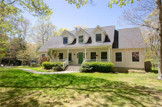 Stunning 4 bed, 3 bath home on a very private 1 acre; property borders preserved land on two sides. This lovely North Fork escape features a heated saltwater pool, large yard, wood burning fireplace, open floor plan and large bonus room. Located at the end of a quiet cul-de-sac with multiple beaches within a mile. Short 5 minute drive to Greenport village, the North Forks hub for dining & shopping. 5 minutes to vineyard, farm stands & Orient Village. Walk to East Marion business hamlet.