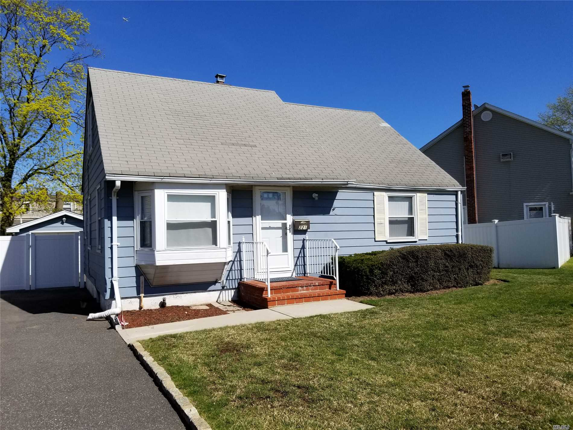 4 bedroom, 1.5 bath Cape, newly painted, newly carpeted, full unfinished basement, 1.5 car detached garage, very close to Bethpage LIIR station.