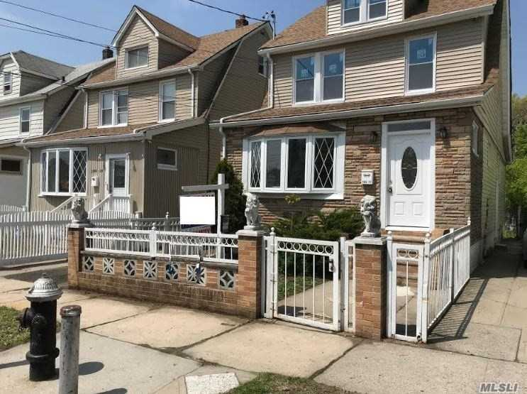 Fully renovated detached 2 family house. Great Investment property! 3 bedrooms, 1 Bath over 3 bedrooms, 1 bath. FIRST FLR: L/R, EIK, 3 bedrooms, 1 full bath. Second FLOOR (duplex): L/R, EIK, 3 bedrooms, 1 full bath. 3rd Bedroom on third floor. Full semi finished basement with full bathroom & OSE. All new: Roof, Windows, Doors, Kitchens (2) , Flooring, Walls, Bathrooms (2), Heating system, Hot water tank and Electrical. Pvt Driveway leads into rear yard.