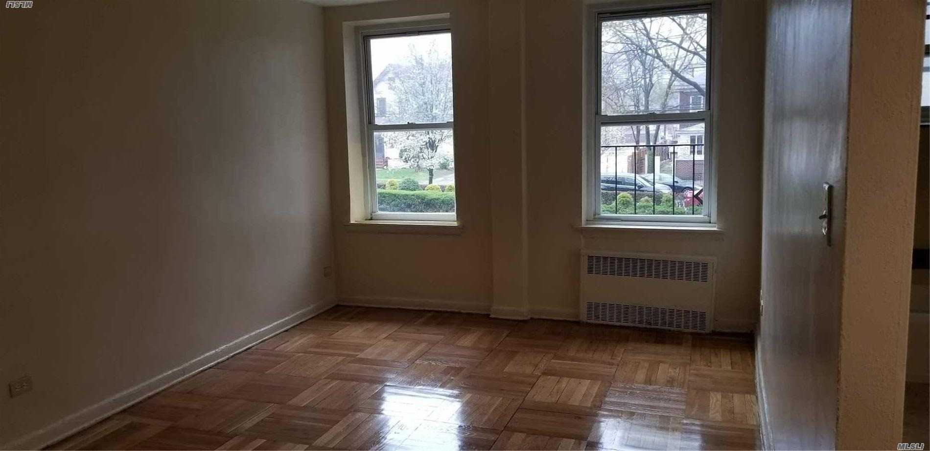 Jamaica Hills; This co-op feature a desirable 1st floor studio unit with full bath, and kitchen. Hardwood floors throughout and plenty of closet space. Indoor parking available and it has a 24 hr gym. 2 blocks from F train and other major transportation. Tons of shopping in walking distance. Pets allowed, dogs under 25 lbs.