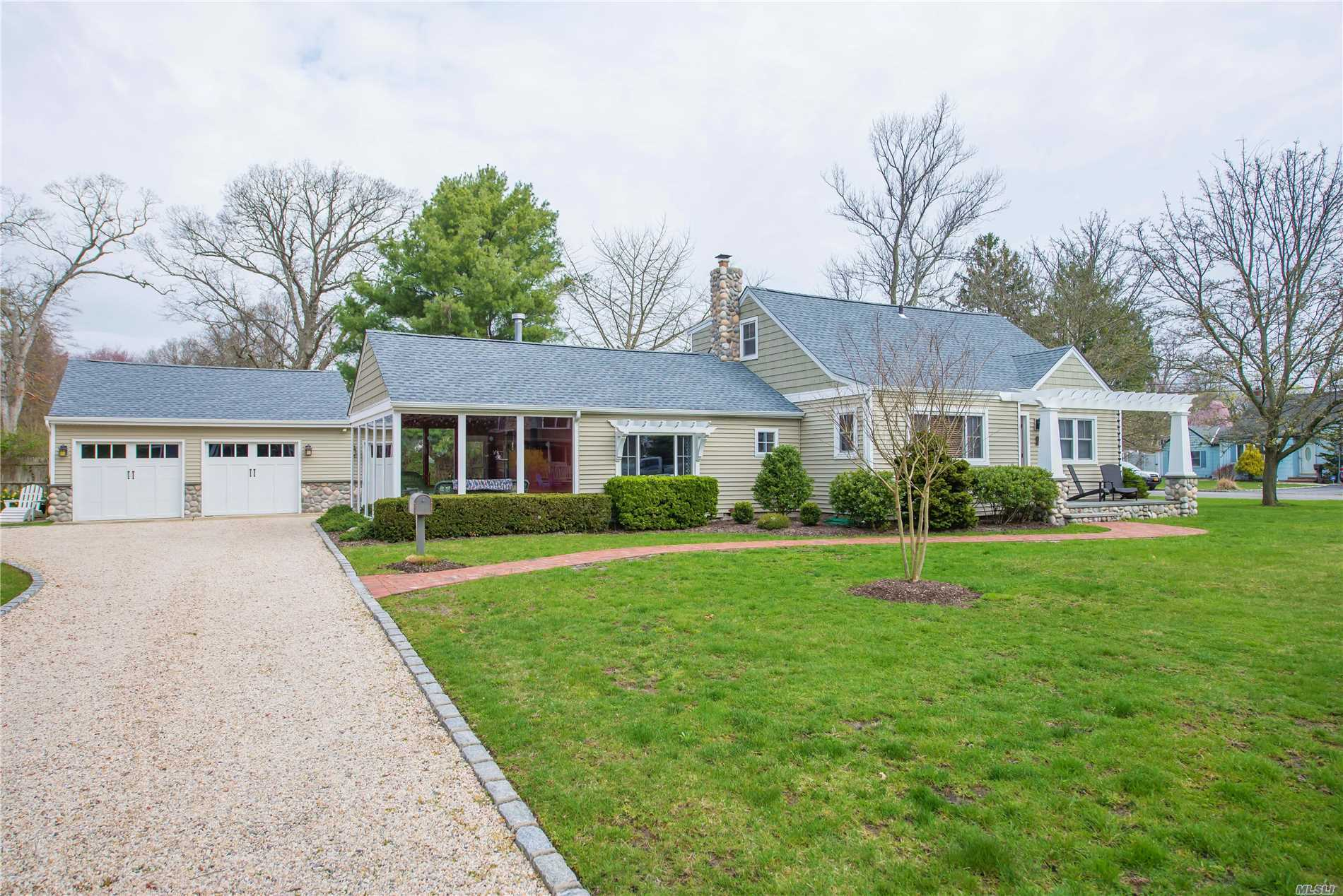 Fantastic Expanded Cape in West Islip's Pine Lake Neighborhood! A thoroughly updated 4 bedroom 2 bathroom home with a 2 car detached garage. Very private half acre of property on a cul de sac. Beautiful architectural details, and a show stopping indoor outdoor living space with removable windows and screens. Move right in!