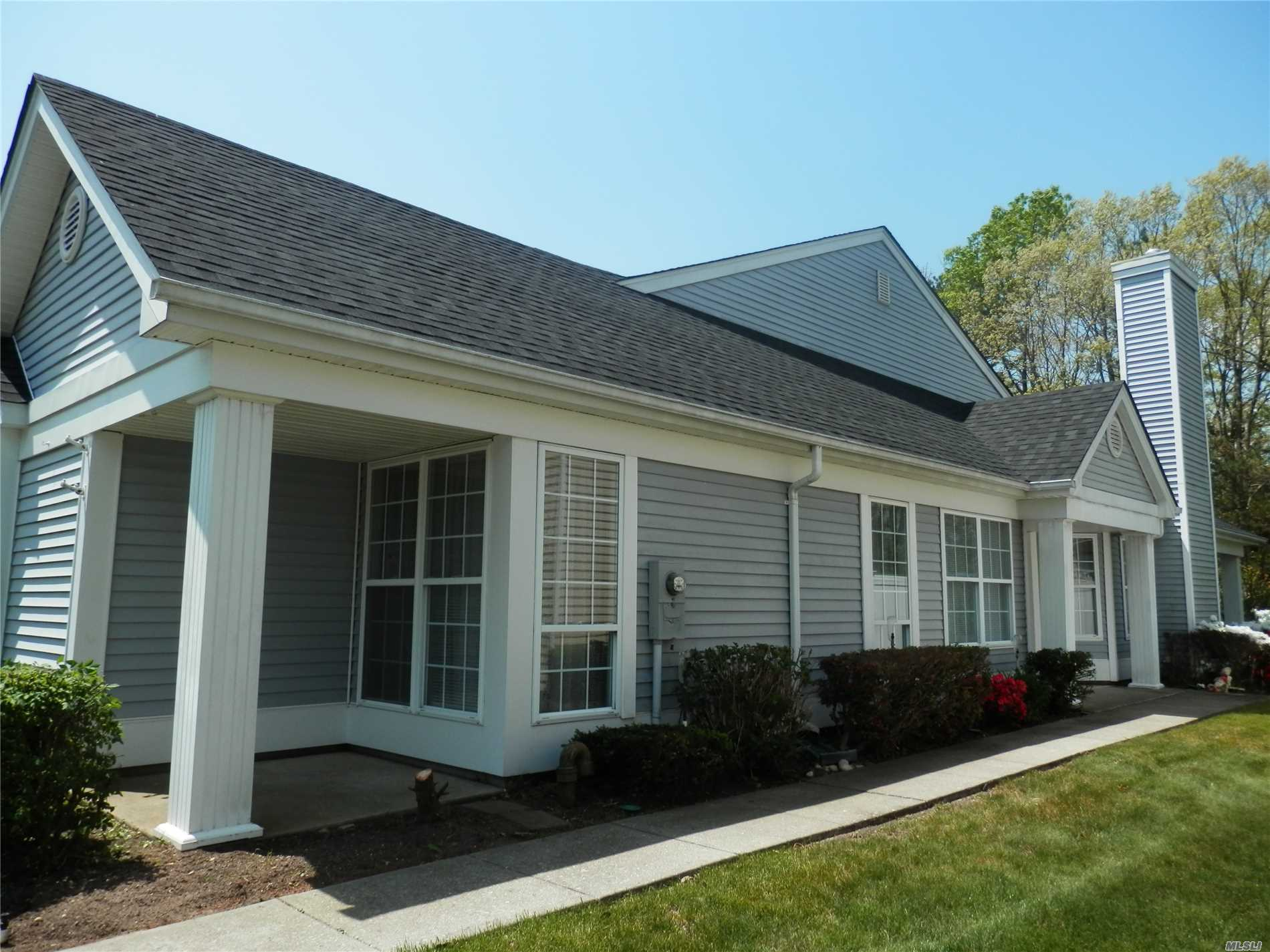 Bright, sunny Greenport, largest of the attached units. Newer windows, a/c replaced 2006, brick patio, private yard. Enjoy the many amenities Leisure Glen has to offer - country club, beautiful outdoor pool, tennis, gym, library, and endless planned activities. Buyer pays $1500 fee to administration. Taxes are in the process of being grieved!