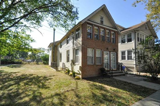 Corner Two Family on Dead End Street, Extended and Completely Renovated in 2005. 3 Bedrooms over 3 Bedrooms, Hardwood floors throughout, Finished Bsmt. 2 Boilers, 2 Hot Water Heaters, 2nd flr water sub-metered.  Potential to Acquire Adjacent Lot 10 X 92 owned by City. LIRR, Express Bus, Shops Restaurants , School District 26. 2nd floor vacant. Vacant. Building sized approx 18 X 56.2 AMAZING VALUE !!