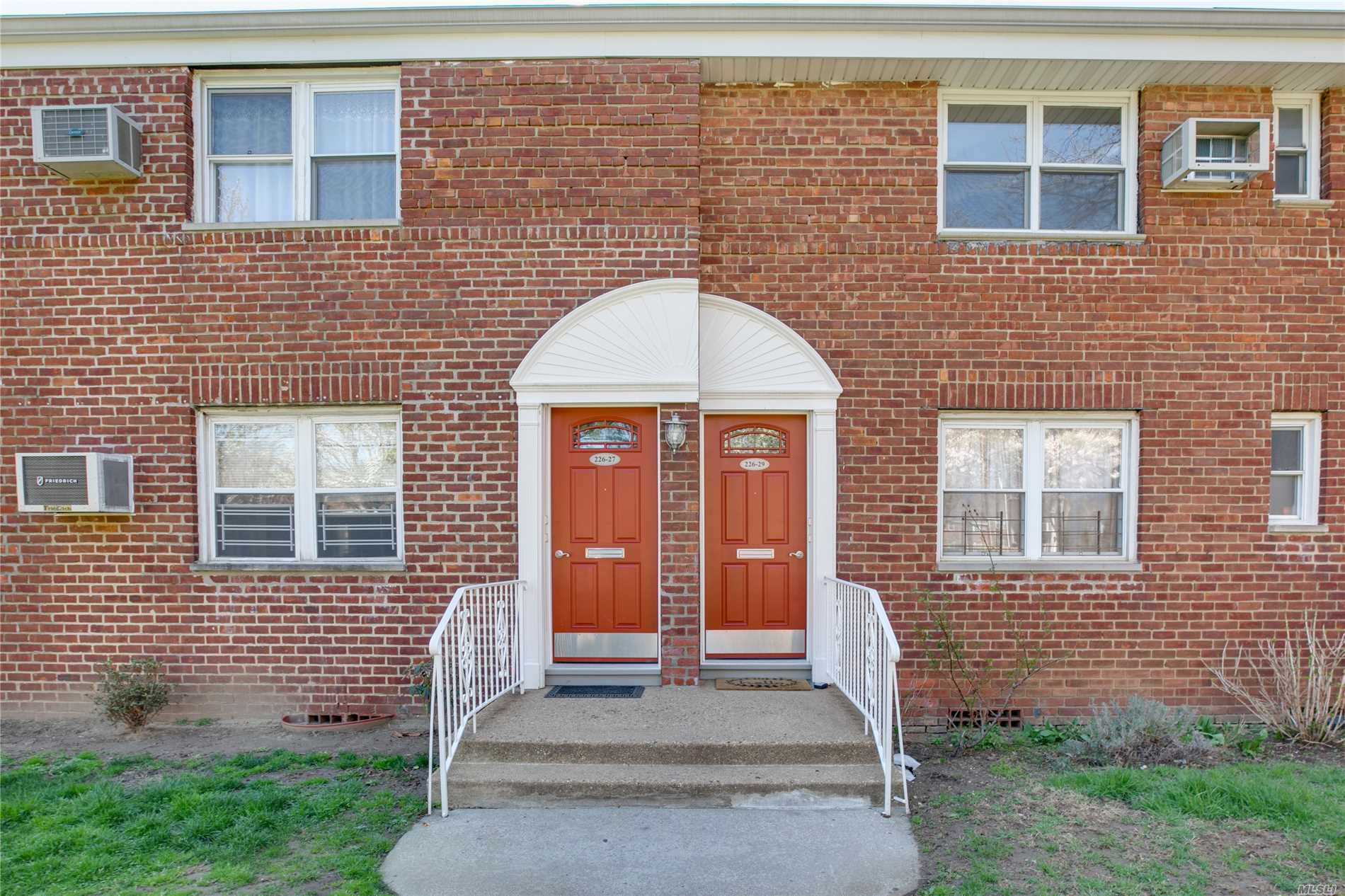 Bayside one bedroom upper unit located in desirable Alley Pond development. Excellent opportunity to homeownership featuring a spacious layout with renovated kitchen and bath, freshly painted, hardwood floors and plenty of closets. Prime location in beautiful courtyard and close access to major highways and Q46 bus. Pets Allowed!