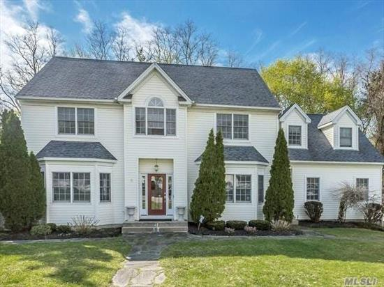 Colonial w/Charming Ambiance, Set On .52 Acre W/Fenced Yard & Brick Patio On Cul-De-Sac. Formal Living & Dining Room, Family Room w/Fireplace & Great Room All Spaciously-Sized. Kitchen W/ Custom Cabinets, Ceramic Tile, and Upgraded Appliances. Master Suite W/ European Bath & 4 Add'l Bdrms/Bonus Room For Extended Family/Home Business. Hardwood Flooring, Volume Ceilings, and Crown Moldings throughout. Central Air, Ingound Sprinklers and 2-Car Garage. Beach Rights Are Available.