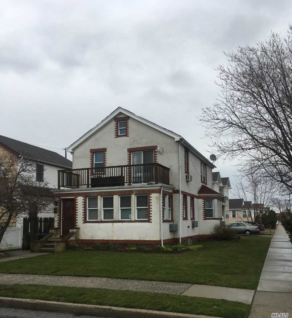 Great 2-Family Home. Situated on a nice size corner property. Detached Garage. Driveway. Tenants are on a month to month lease. Great Potential. 1st Floor- 2 Bedroom, 1 Bath. 2nd. Floor- 2 Bedroom, 1 Bath. Close to all. Beach Community.